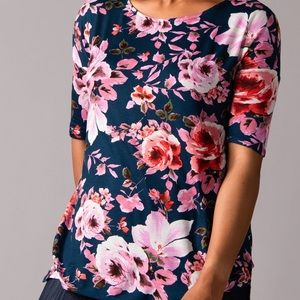 Essential Hi-Lo Tunic Teal/Pink/Rust Floral